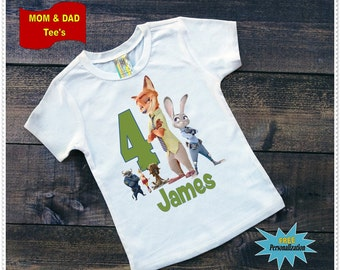 Boy or Girl Zootopia Birthday Tee Shirt or Bodysuit; Bodysuit size 6-24 Month;Tee Shirt 2T and Up;FREE Personalization