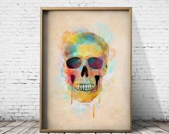 Digital Art Sugar Skull Print Printable Art Prints Printable Poster Watercolor Digital Download  Digital Prints Watercolor Prints