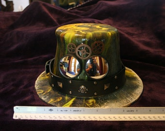 Steampunk, Fused Glass Decorative Hat