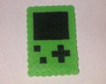 Green Game Boy made from Perler Beads