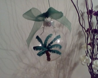 Hand Painted Glass Palm Tree Ornaments