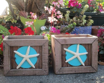 Repurposed wood boxes with Coastal flare