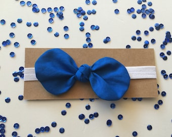 Knotted Fabric Bow with Headband - Blue