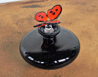 Black Perfume Bottle with Butterfly Stopper