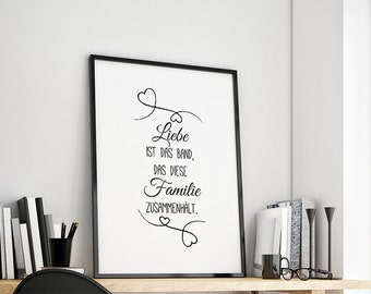 Love is the band that holds this family together. Gift Family Art Print Fine Art Print