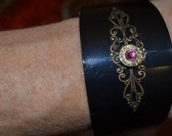 Metal cuff  bracelet with bullet