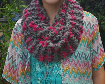 Chunky pink and gray hand-knit infinity scarf