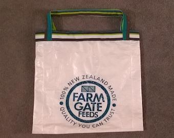 upcycled animal feed tote bag