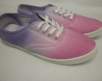 Pink and Purple Ombre Sneakers - Women's Size 8