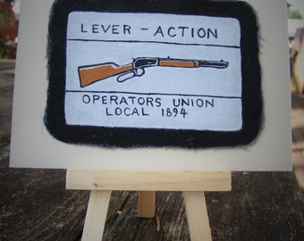 lever action rifle painting, patch study on canvas