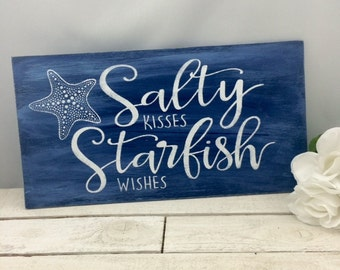 """Salty Kisses Starfish Wishes Sign-18""""x9.5'"""" Sign-Beach Wedding Sign-Starfish Wedding Sign-Beach Wedding"""