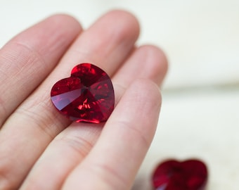 Swarovski Heart Beads, Crystal Heart Pendant, 18mm Red Heart, Swarovski Crystal, Beads, Pendant, Jewelry Making, Supplies, Romantic Beads