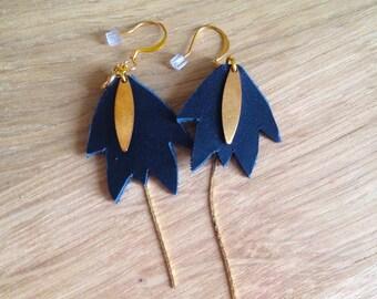 earring leaf leather