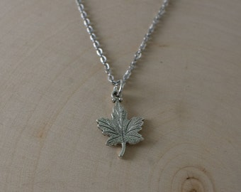 Maple Leaf Pendant Necklace | Silver Charm Necklace | Nature | Hiking | Boho | Fall Autumn Jewelry | Stainless Steel