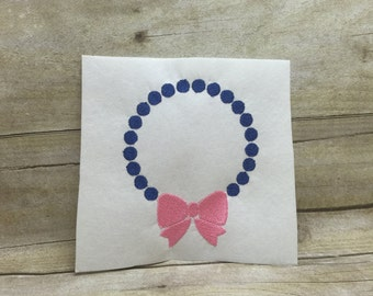 Dot Frame With Bow Embroidery Design, Polka Dot With Bow Embroidery Design