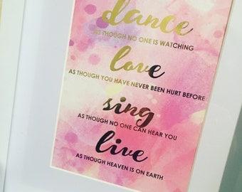 Gold Foil Print - inspirational quote framed print
