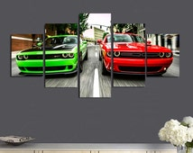 Dodge Challenger Large Canvas Print,Dodge Brand 5 Panel Canvas, Dodge Living Room Wall Art, Wall Canvas Art, Extra Large Canvas #141
