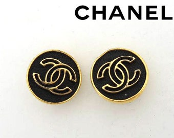 Authentic Chanel Black CC Logo Vintage Clip-on Earring 03p Boxed