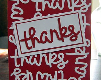 Thank You Card in red ~ Handmade