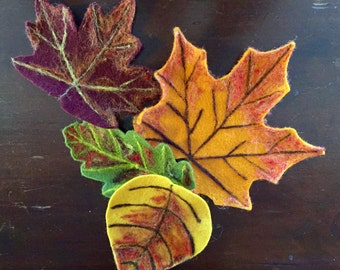 Needle Felted Fall Leaves, Autumn Leaves, Fall Decoration