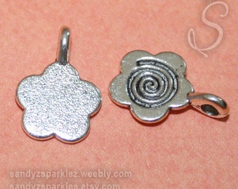 8 - Silver Tone Flower Glue on Bail 15x11mm, Resin and Jewelry silver bail pendant, SZS1214