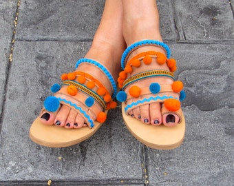 "Handmade Greek Leather Sandals, ric rac, pom pom trim, ethnic fabric and pom poms   ""FREEDOM"""