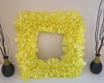"Yellow (Lemon) Fabric Rag Wreath 16"""