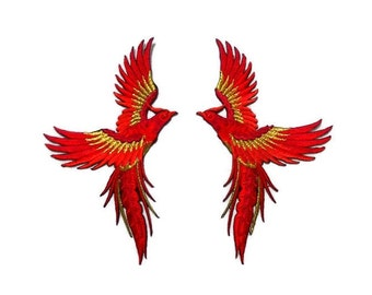 9 x 16 cm./1 pair, Mythical Phoenix Rising, embroidered patch, big bird iron-on/sew-on appliques, candy-crimson-ruby red, glitter gold(B-11)