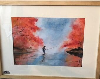 Man fishing in Autumn