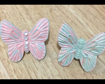 Shabby chic butterfly knobs w/glitter