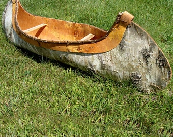"""Birch Bark Canoe Handcrafted 36"""" Created From Real Birch Bark, Trimmed With Real Willow Sticks, Reversed Birch Bark and Hand Sewn."""