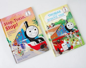 Thomas The Tank Engine Vintage 2 Book Set Retro Dr. Seuss Beginner Books Stop Train Stop and Thomas And The School Trip 1990's