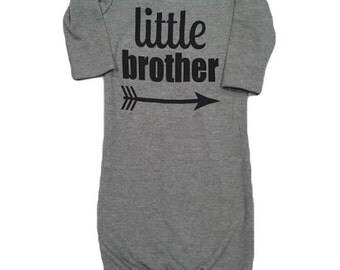 Little brother baby gown grey/black