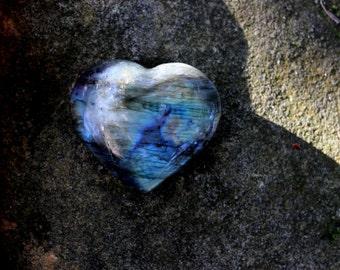 Large labradorite crystal heart