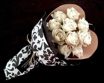 Personalized Wedding or First Anniversary Gift, Wedding Song or First Dance Song, Paper Flowers, Paper Roses, Custom Sheet Music
