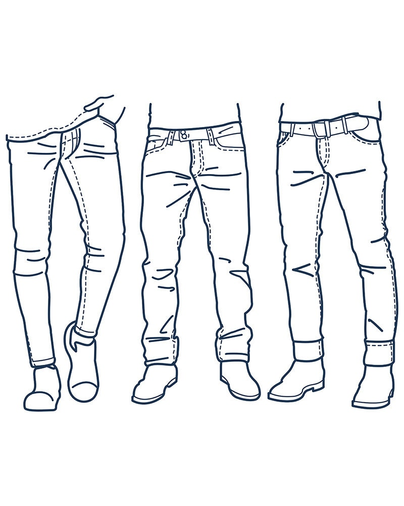 Fashion Collection of men's jeans outline. clipart commercial use, vector graphics, digital clip ...