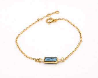 "PRICE reduced-Bracelet ""poem"", gold plated 24 k with a Swarovski, refined/minimalist/elegant/french/party rock of mothers"