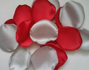 Red and Silver wedding, rose petals, satin rose petals, wedding decorations, wedding decor, aisle runner decor, flower petals, petals.