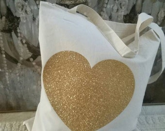 Gold glitter heart canvas tote bag - free name personalization for weddings, birthdays
