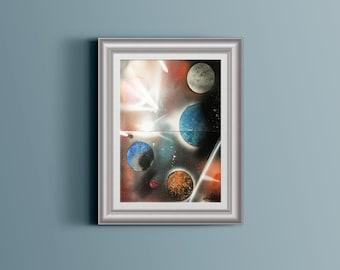 6 Planet Space Spray Paint Art