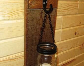 Rustic Mason Jar Wall Sconce,  Mason Jar Candle Holder, Wall Sconce