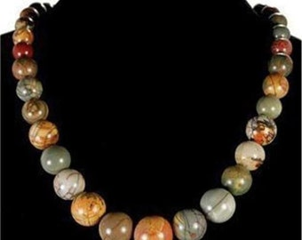 Necklace stone genuine picasso Jasper