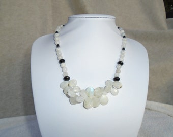 Tourmalated moonstone and black onyx necklace