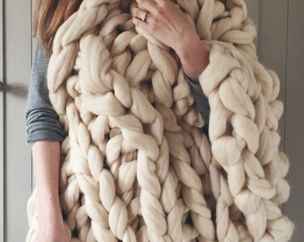 Chunky Knit Blanket in Buttermilk - cream giant knit blanket - Giant Yarn - Super chunky knit throw - extreme knit blanket - Wedding gift