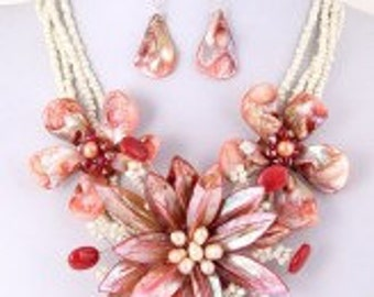 Pink Pearl Statement Necklace Set