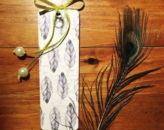 Feathers&polka handmade wooden bookmark