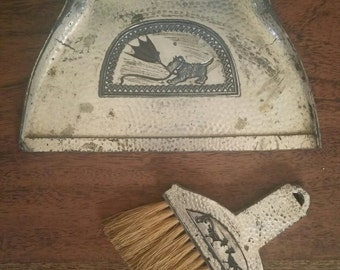 Antique Silent Butler Crumb Tray and Brush Set