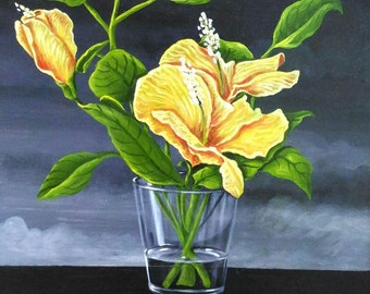 """Painted oil on MDF """"Flowers and glass"""""""