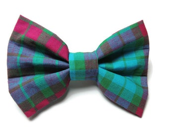 Large Pretty Plaid Slip-On Collar Bowtie