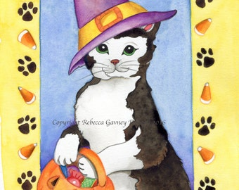 5 pack Halloween card black cat with pumpkin 5 x 7 card and envelope